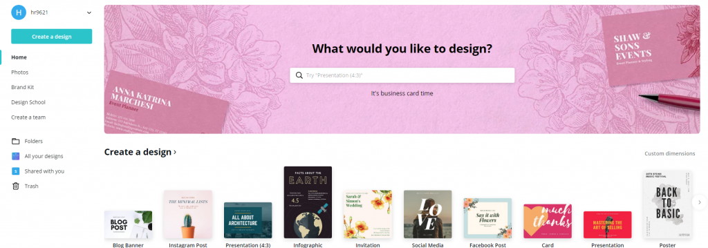 Canva - create a design page
